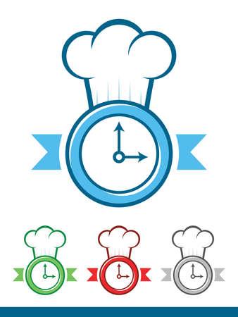 slow food: Icona di un orologio che indossa un cappello da cuoco