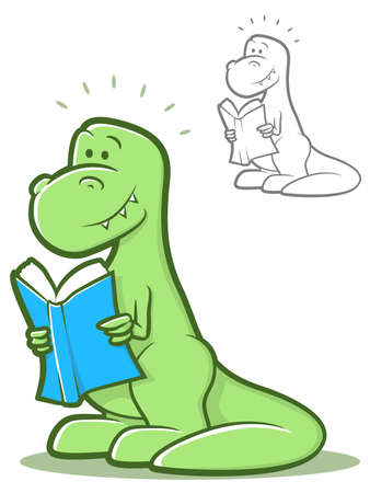 Cartoon dinosaur holding a book and smiling