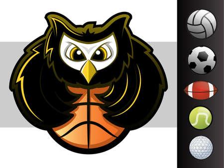 aves caricatura: Búho mascota del equipo de deportes con varios iconos de bola de deporte Vectores