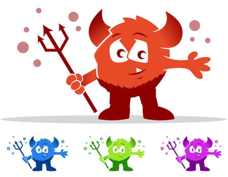 Childish devil cartoon character set Stock Vector - 23864113