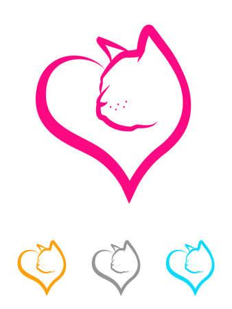 silueta de gato: Ejemplo de una cara gatito dentro de una forma de corazón