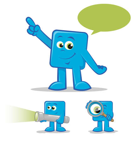 finding: Illustration of a blue cartoon talking and finding