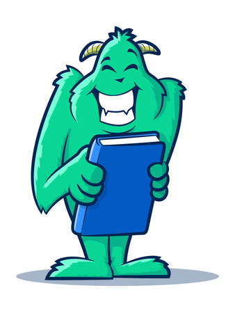 hopeful: Cute monster creature holding a book