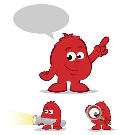 Collection of red finder cartoons with smiles Vector