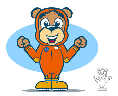 teddy bear cartoon: Cute teddy bear cartoon wearing an orange jumpsuit Illustration