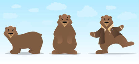 Brown bear cartoon in various poses Vector