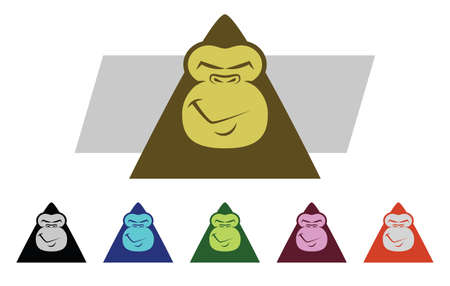 monkey face: Set of various colored Gorilla Mascot Characters Illustration