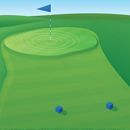 putting green: Golf course background illustration with target circles Illustration