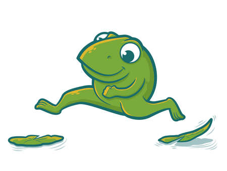 Cute toad character hopping on lily pads Vector