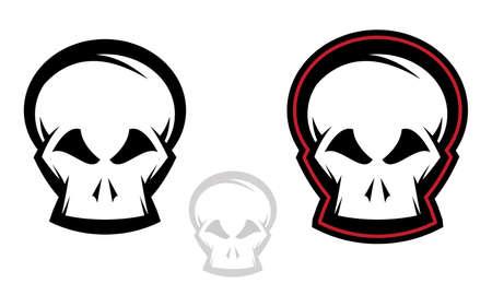 Various versions of detailed skull illustrations
