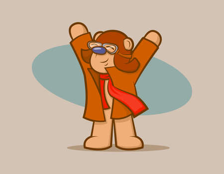 Cute vintage bear wearing goggles and a scarf, pretending to fly Vector