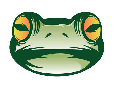 Illustration of a green frog face icon Vector