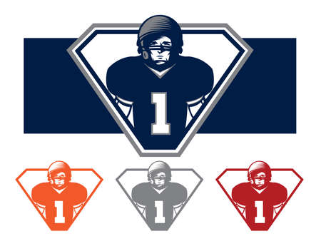 Illustration of a football player on a team Vector
