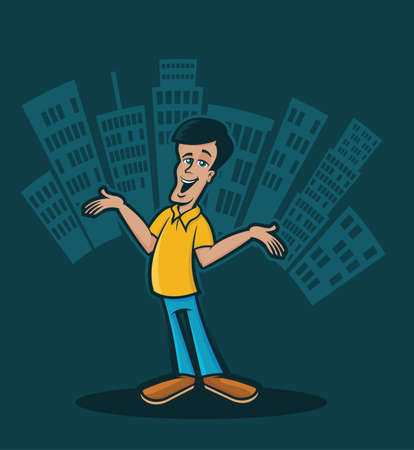 uptown: Illustration of a happy character in front of a metro skyline