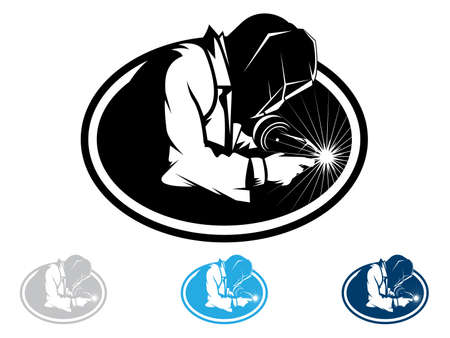 manufacturing occupation: Silhouette of a working welding with a torch Illustration