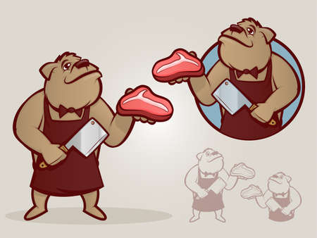 Cartoon dog dressed as a butcher and chopping meat Illustration