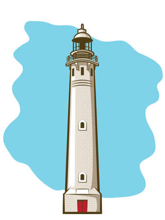 Illustration of a vintage brick lighthouse Vector