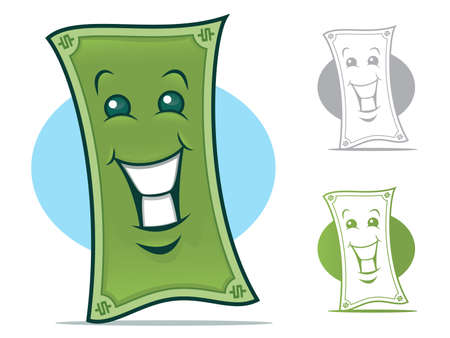 Dollar Bill Cartoon Character with a smiling Face Vectores
