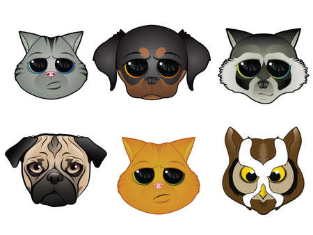Dog, Cat, and Other Animal Faces Illustration