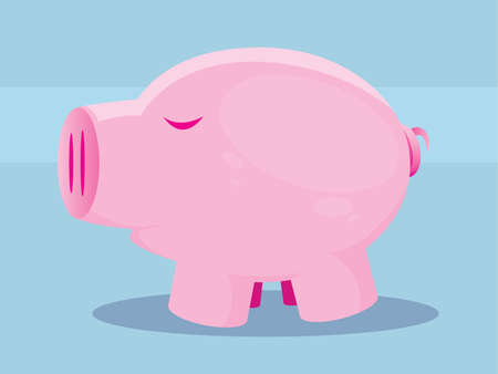 Illustration of a cute pink pig on a blue background