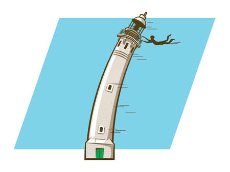 blown: Cartoon person hanging over the rail of a wind blown lighthouse Illustration