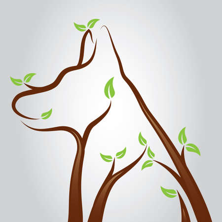 vet: Illustration of a dog shape growing from tree branches