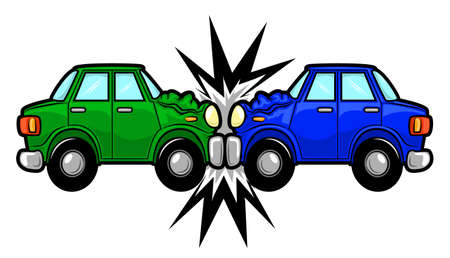 cartoon: Illustration of two cars involved in a car wreck