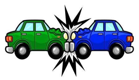 Ilustracja dwóch samochodów biorących udział w wypadku samochodowym