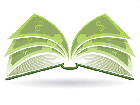 author: Illustration of an open book with dollar pages Illustration