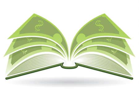 marca libros: Ilustración de un libro abierto con páginas en dólares