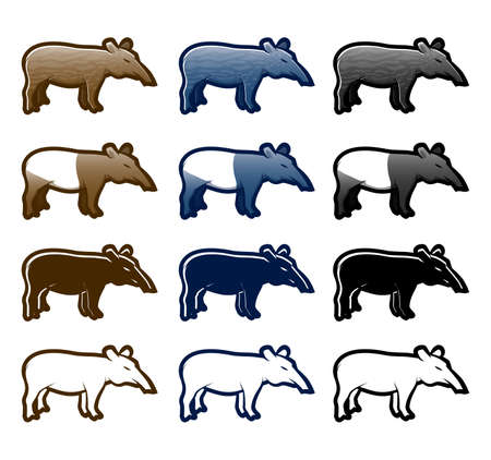 Various tapir cartoon icon set Vector