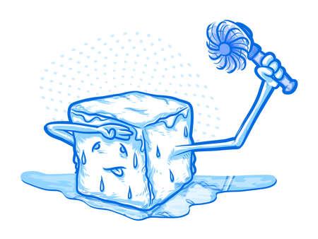 fresh air: Cartoon fusi�n del hielo que sostiene un ventilador Vectores