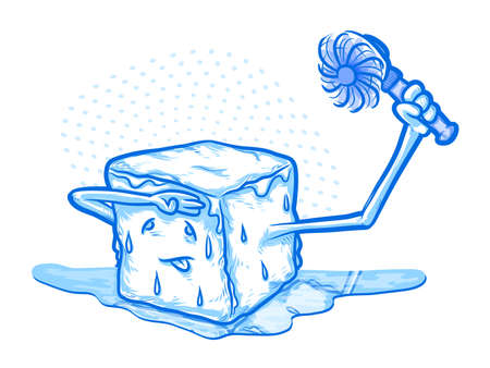 hot and cold: Ice Melting Cartoon Holding  a Fan