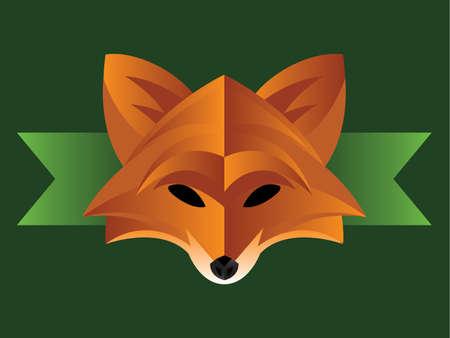 fox face: Ejemplo de una cara de zorro moderno en fondo verde