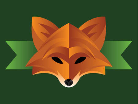 animal heads: Illustration of a modern fox face on green background