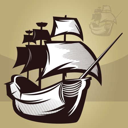 古いマップ スタイル船のイラスト  イラスト・ベクター素材