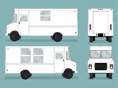 white truck: Illustrated food truck graphic with all views