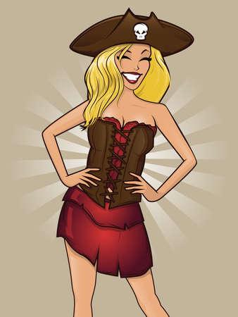 Pretty pinup style pirate woman