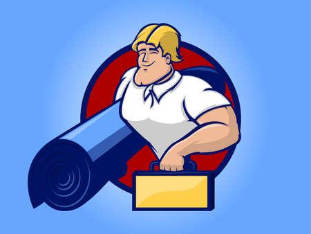 Ilustración de un hombre fuerte de reparación de la celebración de una caja de herramientas ad alfombra Ilustración de vector