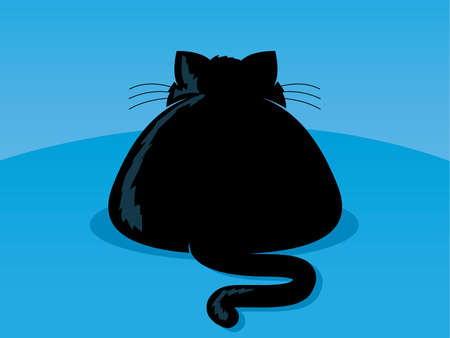 tubby: Illustration of an overweight black cat