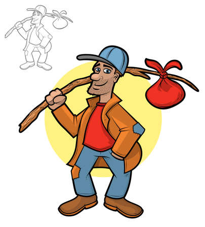 walking stick: Illustration of a hobo holding his bindle sack