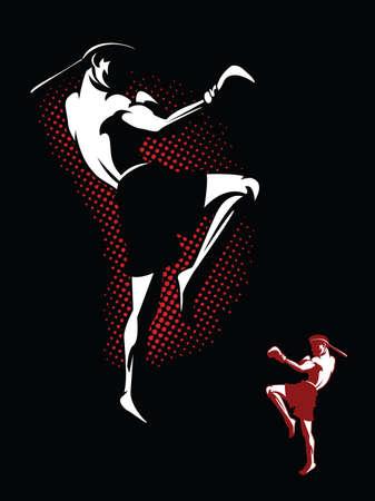 タイでムエタイ選手を蹴るのイラスト