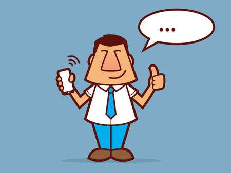 telefono caricatura: Hombre de la historieta con una corbata y la celebración de un teléfono celular Vectores