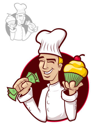 Illustration of a happy chef holding a cupcake and money Vector