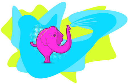 Elephant illustration in pop art style with bright colors Vector
