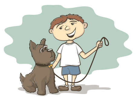 Illustration of a smiling kid with his furry dog on a leash