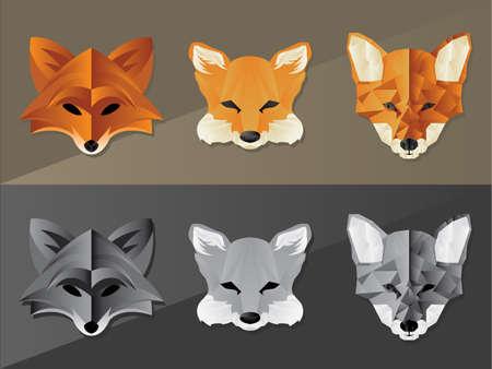 fox face: Colecci�n de varios iconos de la cara de zorro