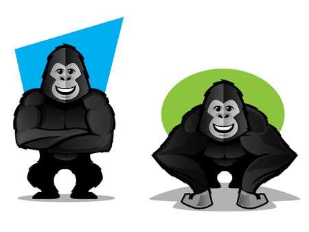 rey caricatura: Ilustración de un gorila negro o mascota mono en dos poses