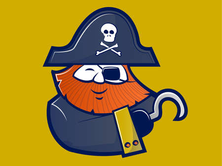 hooks: Illustration of a red bearded Pirate with a hook hand