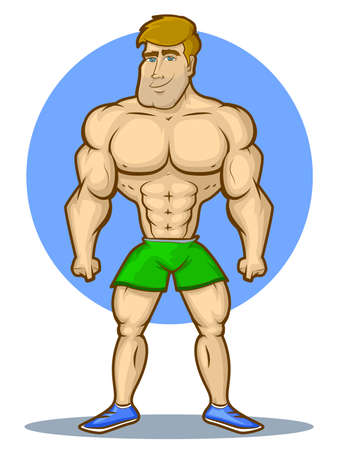 sexy muscular man: Illustration of an athletic, muscular man
